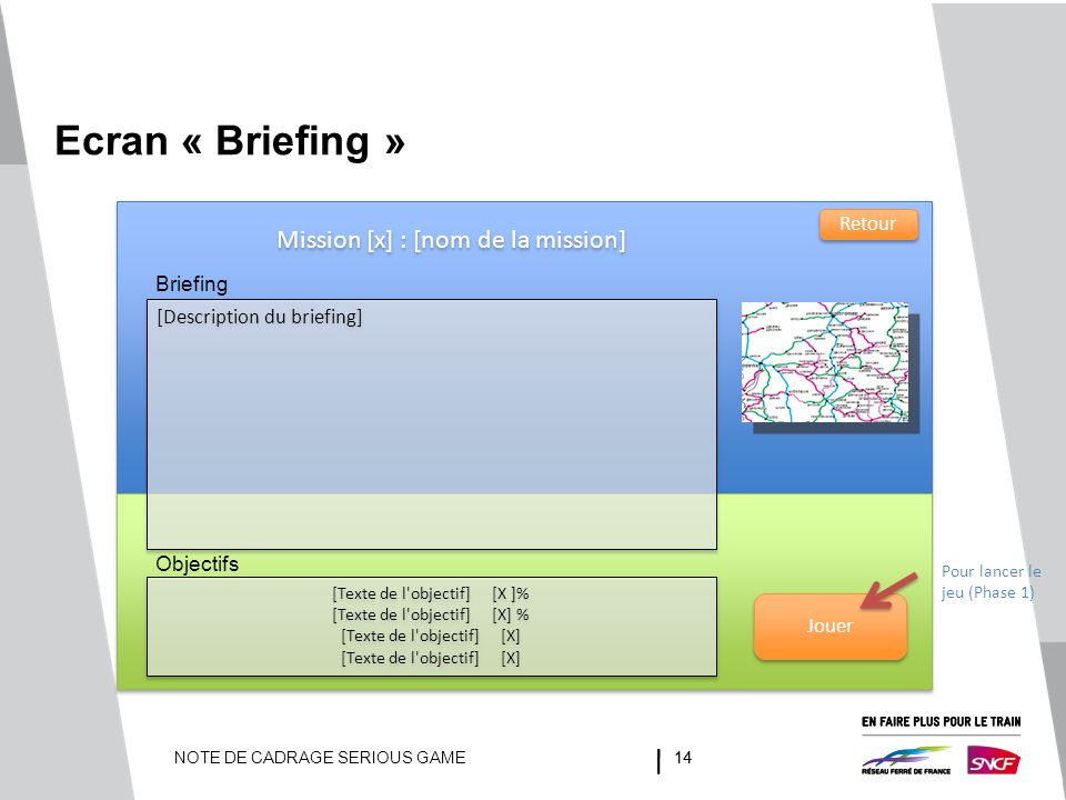 Ecran « Briefing » Mission [x] : [nom de la mission] Retour Briefing